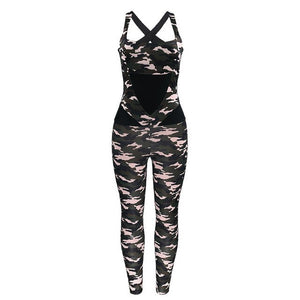 Women Sportswear Tracksuit Elastic Leggings Backless Jumpsuits Running Fitness Workout Athletic Gym Yoga Jogger Wear Sport Suit
