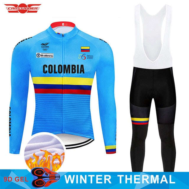 2019 Pro Team Colombia Cycling Jersey Set Bike Clothing Mens Ropa Ciclismo Winter Thermal Fleece Bicycle Clothes Cycling Wear - SuRegaloExpress