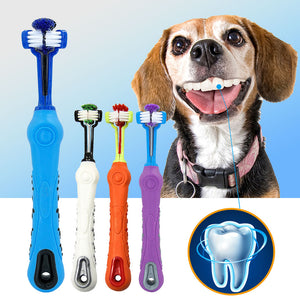 Dog Toothbrush Soft Pet Cat Toothbrush withThree Sided Dogs - SuRegaloExpress