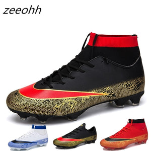 zeeohh Students Men's Outdoor Soccer Cleats Shoes High Top TF/FG Football Boots Training Sports Sneakers Shoes Original Cleats