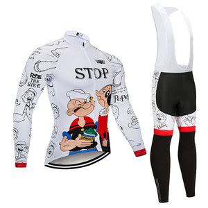 2019 Cartoon Cycling Jersey 9D Pants Set MTB Bike Clothing Ropa Ciclismo Winter Thermal Fleece Bicycle Clothes Mens Cycling Wear - SuRegaloExpress