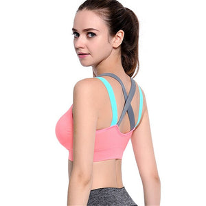 Cross Back Sports Bra Women Sexy Fitness Yoga Push Up Sports Bra Gym Running Padded Professional Shockproof Quick Dry Tank Top - SuRegaloExpress