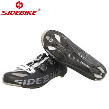 Cargar imagen en el visor de la galería, SIDEBIKE Carbon Fiber Black White Road Cycling Shoes Light Ultralight