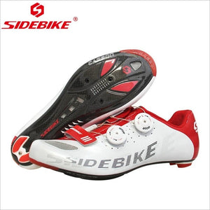 SIDEBIKE Carbon Fiber Black White Road Cycling Shoes Light Ultralight