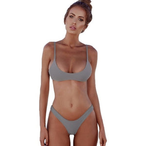 Sexy Bikini Set Women Swimsuit Solid