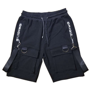 Hip Hop Summer Shorts Men 2019 Black Ribbons Streetwear Bermuda Man Shorts Multi-pocket Punk Casual Knee Length Short Pants Men - SuRegaloExpress