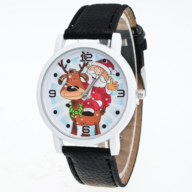 Watch 1Pcs Cartoon Santa Fashion Snowman Round Pattern Claus Elk Not Waterproof Quartz Alloy Analog Buckle Unisex