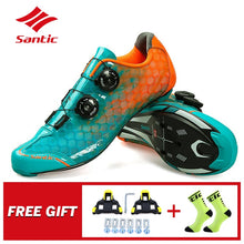 Cargar imagen en el visor de la galería, Santic Carbon Fiber Men Cycling Shoes Road Bike Self-locking