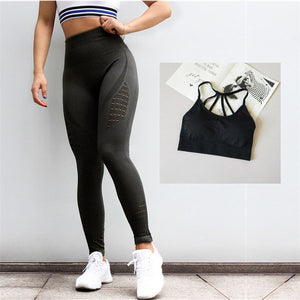 2 Pieces Yoga Set For Women Gym Strappy Sports Bra Tummy Contorl Gym Leggings Active Wear Energy Workout Seamless Sport Suits - SuRegaloExpress