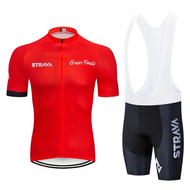 2019 STRAVA red Quick-Dry Cycling Jersey Set MTB Road Bicycle Clothing Breathable Mountain Bike Clothes Cycling Set - SuRegaloExpress