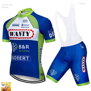 2019 Pro UCI Team Ciclismo MTB Bike Clothing Cycling Blue Wanty Cycling Jersey Set 16D Sportswear Short Sleeve Cycling Wear Men - SuRegaloExpress