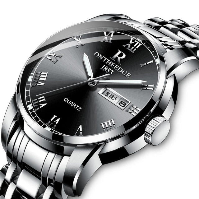 Quartz Watch Men Stainless steel Waterproof