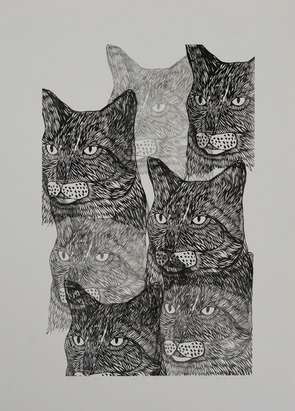 crazy cat lady lino cut 50x70cm