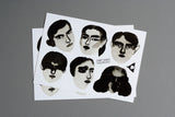 watercolor portraits sticker sheet
