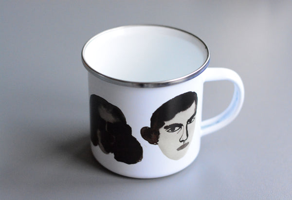 Watercolor Faces Enamel Mug