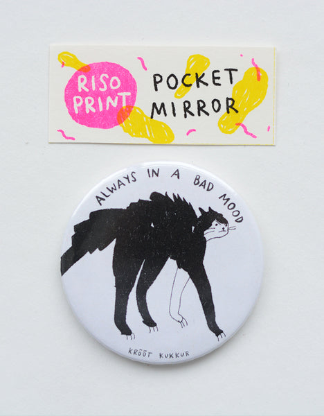 """always in a bad mood"" riso print pocket mirror"