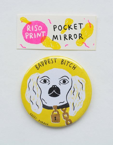 """baddest bitch"" riso print pocket mirror"