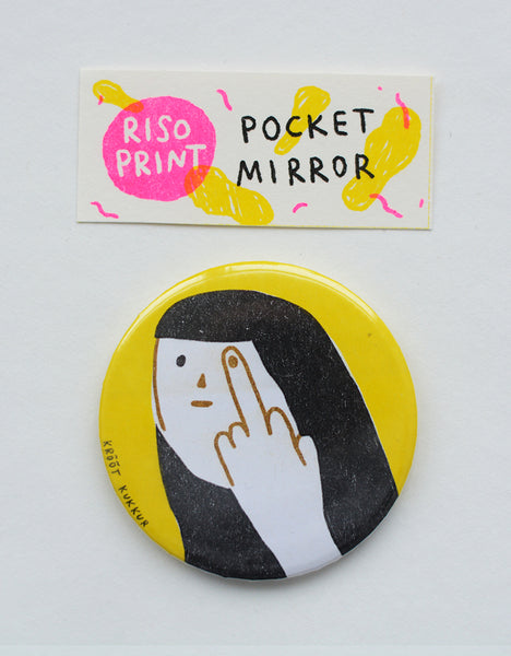 """fck off"" riso print pocket mirror"