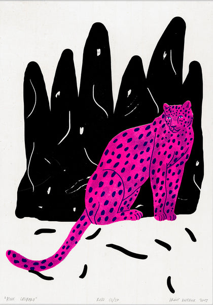 """pink leopard""A3 riso"