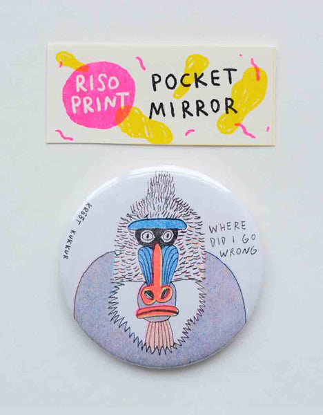 """where"" riso print pocket mirror"