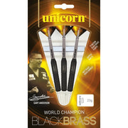 Gary Anderson Darts Black Brass Style 2 Steel Tip Unicorn Darts 22g 24g and 26g