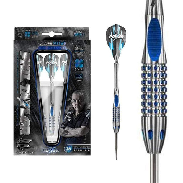 Phil Taylor Darts 9-Five Gen 2 Steel Tip Target Darts 22g 24 and 26g - Darts
