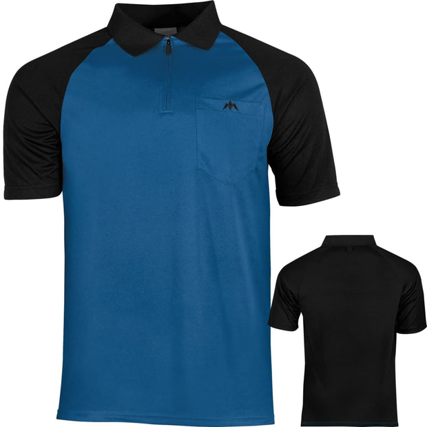 EXOS Cool FX Darts Shirts Mission Darts Available in 7 designs from small to 5xl - Blue & Black / Small