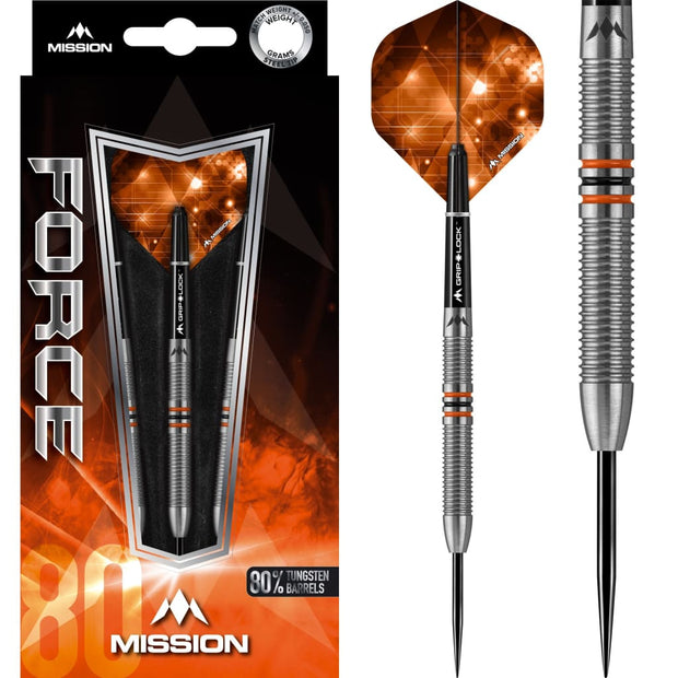 Force Darts M25 Black Orange Mission Darts 22g 24g and 26g