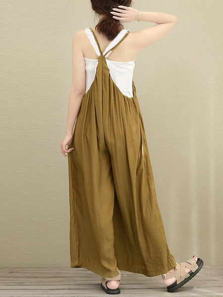 Plus Size Casual Sleeveless Gathered Jumpsuits