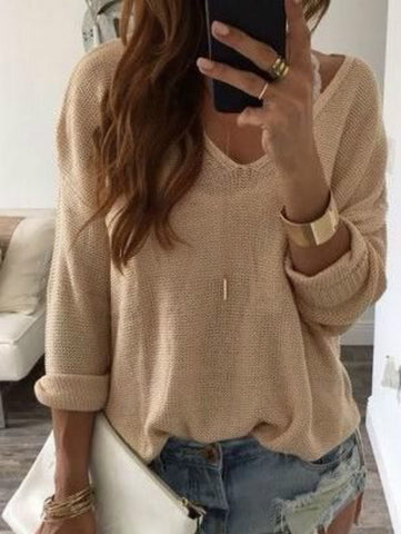 Khaki Solid Long Sleeve V Neck Shirts & Tops