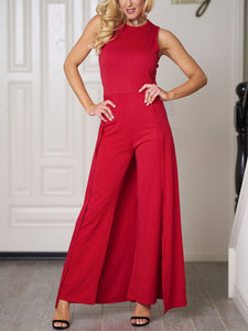 Red Elegant Solid Paneled Crew Neck Jumpsuit