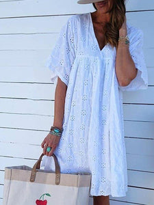 Short Sleeve Cotton-Blend Plain Midi Dress