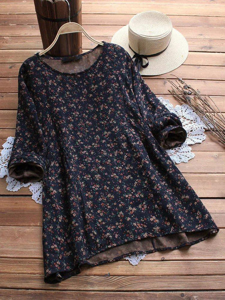Plus Size Floral Printed Vintage Long Sleeve Blouse