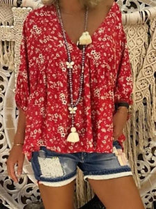 3/4 Sleeve V-Neck Casual Blouse