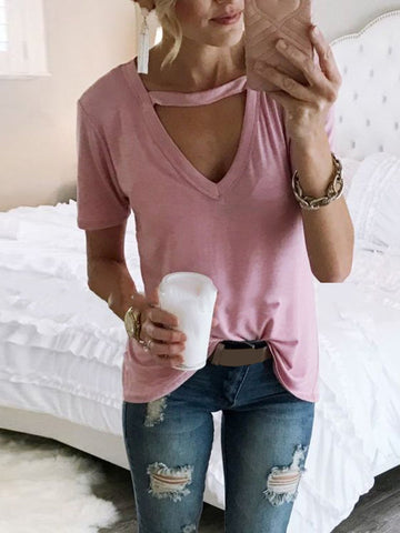 Cotton V Neck Short Sleeve Casual Blouse