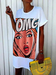 OMG Graphic Plus Size T Shirt Dresses