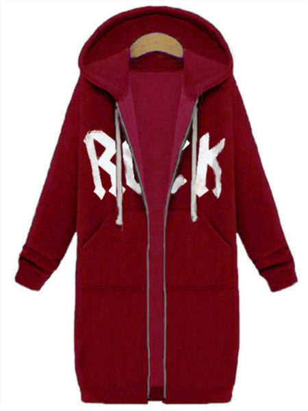 Casual Letter Hoodie Zipper Long Sleeve Pockets Outwear