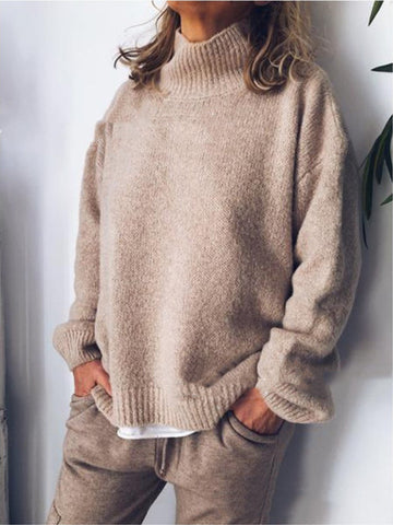 Casual Plain Stand Collar Knitted Long Sleeve Sweater