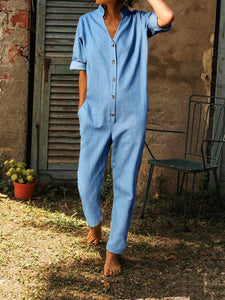 Long Sleeve Solid Buttoned Down Plus Size Jumpsuits Overalls