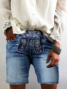 Vintage Embroidered Plus Size Denim Shorts Pants
