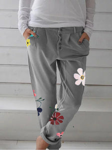 Floral Printed Buttoned Down Plus Size Pants