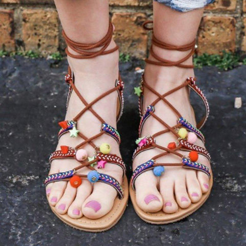 Boho Vintage Lace-Up Summer Pu Flat Heel Shoes Sandals