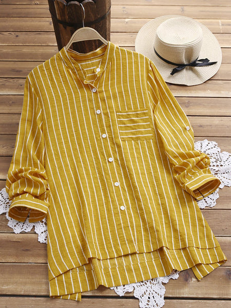 Long Sleeve Stand Collar Stripes Basic Stand Collar Daily Shirt