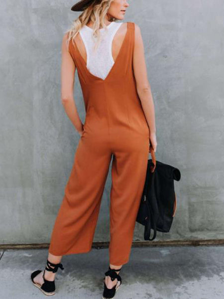 Solid Color V-neck Casual Jumpsuit