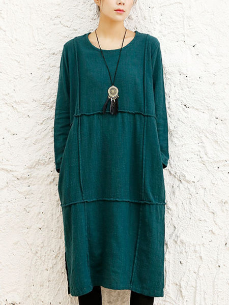 Women Paneled Pockets Vintage Dresses