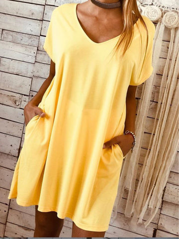 Casual Plain V-neck Short Sleeve Pockets Dress