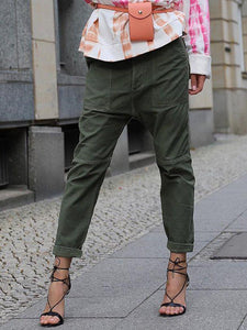 Army Green Solid Casual Pants