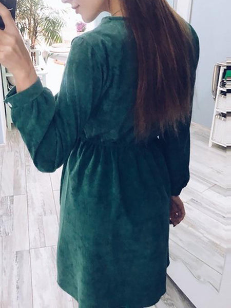 Green A-line Embroidery Sweet Long-sleeved Floral Dress