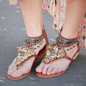 Women Flip Flops Boho Beaded Low Wedge Sandals