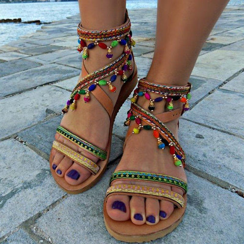 Multicolor Daily Pu Flat Heel Summer Sandals